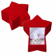 necklace gift case images Red velvet star shaped ring jewelry gift package case storage box jpg