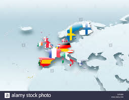 Western Europe Map by Map Western Europe Flag Flags European Union Flag Grey Stock