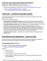 free low cost legal research options presentation outline by