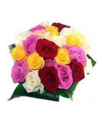 Multicolor Roses Bouquet Of 24 Red Roses And One White Rose 40 50cm