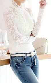 elegant high neck ruffle hem solid color long sleeve slimming lace