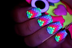 nail art neon neon neon rainbow neon nails 2 the black lightening