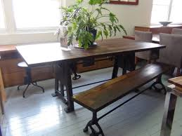 traditional rectangle wood dining table iron legs with bench that
