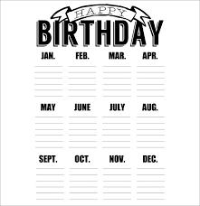 birthday calendar 43 calendar template free u0026 premium templates