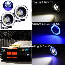 amazon com ijdmtoy complete set yellow lens fog lights foglamp 2pcs car cob led angel eyes fog light lens projector led halo ring