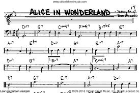 evans alice wonderland sheet music book melody