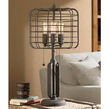 industrial cage edison bulb rust metal table lamp w6747 lamps