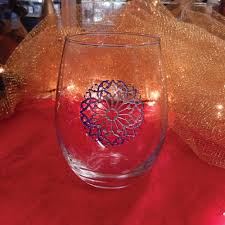 icy blue snowflake stemless wine glass the crystal shoppe