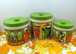 vintage kitchen canisters set of three in groovy bright colors