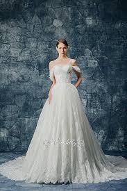 off shoulder lace applique ball gown wedding dress