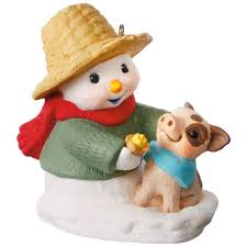 snow buddies snowman and pig ornament keepsake ornaments hallmark