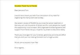 thank you letter for donation 8 free sle exle format