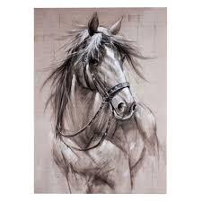pencil sketch horse print framed canvas 50cm x 70cm wall home
