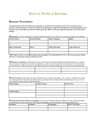 resume worksheet template fill in resume template collaborativenation