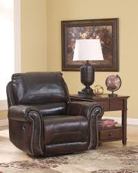 furniture leather swivel nursery recliner with side table and rug
