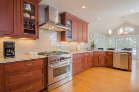 Natural Cherry Shaker Kitchen Cabinets Off White Subway Tile And Simple Pattern Granite Or Marble Home