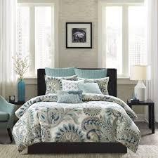 ivy mira blue duvet cover set king paisley