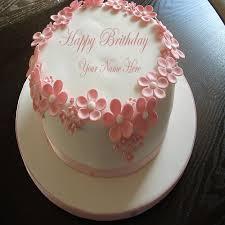 birthday flower cake write name on happy birthday flower cake online
