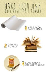 make your own table runner diy vintage book page table runner visualheart creative studio
