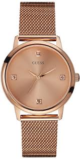bracelet watches guess images Men 39 s rose gold guess diamond mesh bracelet watch u0280g2 gif