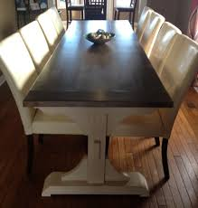 White Pedestal Dining Table Customized Triple Pedestal Farmhouse Table Do It Yourself Home