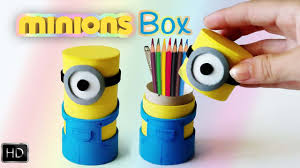 how to make minions box from cardboard pencil holder youtube