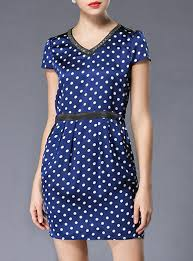 polka dot fitted mini dress navy with white dots short sleeves