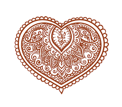 lace heart ethnic henna tattoo vector for valentine day stock