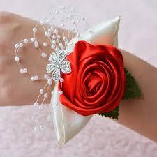 satin roses handmade wedding wrist flower boutonniere bouquet corsage