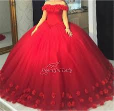 elegant red ball gown prom dresses 2017 wonderful tulle flowers