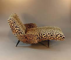 Leopard Print Swivel Chair Mid Century Leopard Print Velvet Chaise Longue At 1stdibs