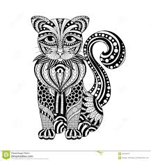 drawing zentangle cat for coloring page shirt design effect logo