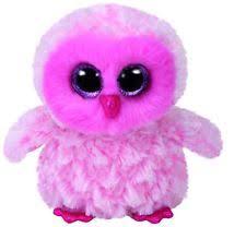 ty beanie boo baby pink owl glitter eye print paddle brush