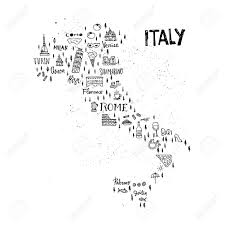 Milan Italy Map Handdrawn Map Of Italy With All Main Symbols And Unique Lettering