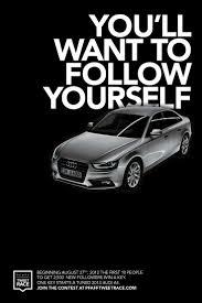 Print Advertisement Idea Design Audi Pfaff Auto Tweet Race Now Trending In Your Garage Ad
