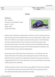 primaryleap co uk reading comprehension beaver worksheet