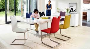 White Dining Table And Coloured Chairs Grande White Extending Dining Table And 4 Chairs For The Home