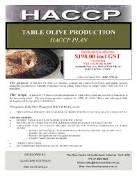 haccp plan table olive production