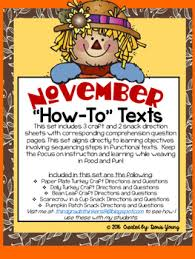 november and thanksgiving how to texts for sequencing by doris