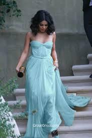 Light Blue Chiffon Dress Light Blue Strapless Sweetheart Pleated Chiffon Vintage Long Prom