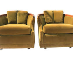 Armchair With Wheels Vintage Velvet Chair Etsy