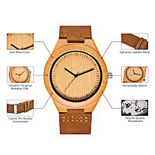 amazon com cucol men u0027s bamboo wooden watch with brown cowhide
