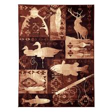 Fish Area Rug Donnieann Lodge Design Fish Duck And Deer Brown 5 Ft 2 25 In X