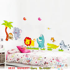 aliexpress com buy cartoon jungle wall stickers zoo animals