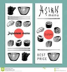 vector hand drawn asian menu illustration hand sketched sushi set