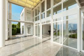 architecture wide veranda of a modern house exterior stock photo