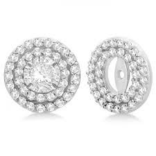 diamond earring studs halo diamond earring jackets 4mm studs 14k white gold 0 52 ct