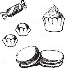 sketch of cupcake macaron truffles and candy stock vector art
