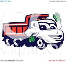 clipart of a cartoon red dump truck mascot waving royalty free