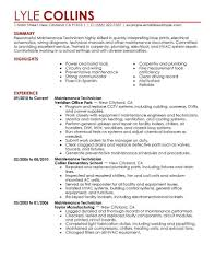 maintenance technician resume maintenance technician resume sle technician resumes livecareer